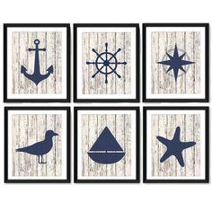 Nautical Art Print Set Nautical Decor Nautical Art by DCAStudio