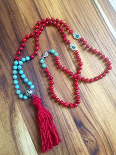 108 Bead Mala Meditation Necklace, Mala Tassel Necklace, Turquoise & Red Bamboo Coral Mala @ bohoberry.com $65