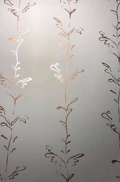 STEM copper rose dusk grey metallic wallpaper by Polly Dunbar – Modern Wallpaper Grey Copper Wallpaper, Grey Wallpaper Living Room, Wallpaper Lounge, Feature Wallpaper, Modern Wallpaper, Home Wallpaper, Bathroom Wallpaper 2019, Wallpaper Ideas, Copper And Grey