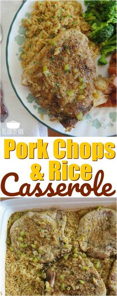 Country Pork Chops and Rice recipe is home cooking at its best. Flavorful seasoned rice and onions baked with seasoned bone-in pork chops. Country pork chops and rice - Pork Chops and Rice Casserole recipe from The Country Cook Baked Pork Chops And Rice Recipe, Chops Recipe, Pork Chop Casserole, Pork Chop Rice Bake, Porkchop Recipes Crockpot, Chicken Casserole, Pork Chop Dinner, Country Cooking, Eating Clean