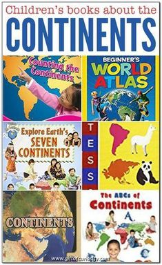 Looking for some good books about the continents for a preschool or elementary geography unit study? This list of books will have you covered. Geography Activities, Geography For Kids, Teaching Geography, World Geography, Teaching History, Book Activities, Teaching Kids, Kids Learning, History Education