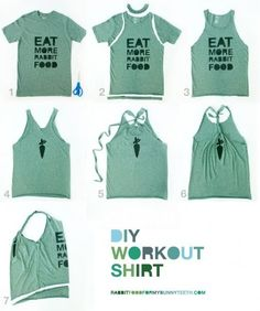 DIY T-shirt Refashion to Workout Shirt diy clothes diy refashion diy shirt diy workout (Diy Ropa Gym) T Shirt Sport, Diy Kleidung, Diy Vetement, Do It Yourself Fashion, Refashioning, Diy Shirt, Diy Tank, Shirt Refashion, T Shirt Dress Diy