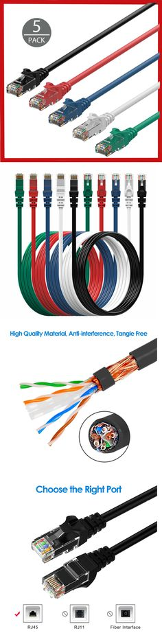 2ft CAT5e Ethernet Patch Cable Cord 350 MHz RJ45 Pick Colors 20 Pack Lot