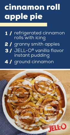 Cinnamon Roll-Apple Pie – Ready to whip up a cozy dessert recipe with just 4 ingredients? You're in luck! This apple pie recipes just requires refrigerated cinnamon rolls, apples, JELL-O® vanilla pudding, and cinnamon. Apple Pie Recipes, Fall Recipes, My Recipes, Baking Recipes, Holiday Recipes, Cookie Recipes, Chicken Recipes, Dessert Recipes, Favorite Recipes