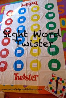 Sight Word Twister! It looks so funny. I like the idea that FUN = Memorable for kids. With this activity, the students feel happy and memorize the sight words.