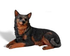 Blue Heeler Laying Dog Statue