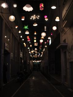 beforelight, communal lighting installation from donated fixtures  view from ermou street image © beforelight via designboom