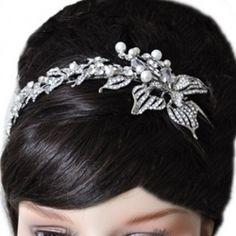 Alisha Diamante and Pearl Wedding Hair Band