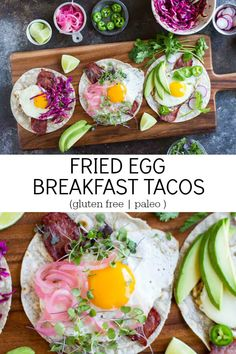 Breakfast tacos with crispy bacon and the perfect fried egg. All you have to do is add your favorite taco toppings. Healthy Egg Breakfast, Gluten Free Recipes For Breakfast, Breakfast Tacos, Lunch Recipes, Mexican Breakfast, Egg Recipes, Breakfast Ideas, Best Paleo Recipes, Whole Food Recipes