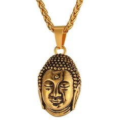 Tathagata Sakyamuni Necklace Buddhist Gold Color Stainless Steel Buddha Buddhism jewelry India Thailand P1053