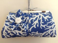 CLUTCH - Handmade Blue Coral Clutch With Flower
