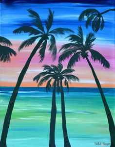 Palm Tree Art - Rainbow Painting - Beach Wall Art - Beach Painting - Coastal Decor - Gift for her - Palm Tree Painting -Original Artwork Coastal Wall Art, Beach Wall Art, Diy Wall Art, Coastal Decor, Beach Mural, Palm Tree Art, Palm Trees, Paper Tree Classroom, Tree Drawings Pencil