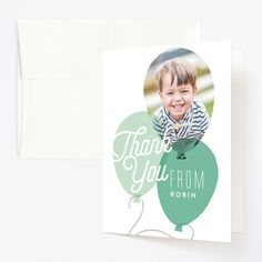 """""""Balloon Party"""" - Childrens Birthday Party Thank You Cards in Azure by Alethea and Ruth. Thank You Cards From Kids, Sunshine Birthday, Balloon Party, Balloons, Globes, Balloon, Hot Air Balloons"""