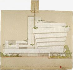 Original sketch by Frank Lloyd Wright for the Solomon R. Guggenheim Museum (1943)