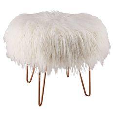 copper metal and white faux fur stool | Maisons du Monde