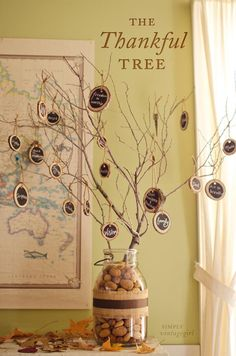 Thanksgiving Decorations and Activities — The Thankful Tree from Simply Vintage Girl. It uses wooden chalkboard tags for expressing gratitude.  Not only does it encourage thankfulness, it looks lovely too.