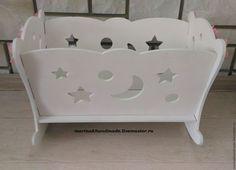 Купить Кукольная кроватка - белый, лиловый, розовый, фанера, дерево, кровать, кроватка, кроватка для куклы
