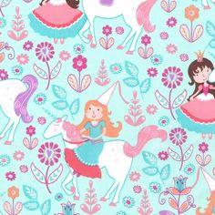 """""""Princess Unicorns Blue"""" Craft Cotton http://www.elephantinmyhandbag.com/all.php#!/Princess-Unicorns-Blue-Craft-Cotton/p/49720602/category=2526021"""