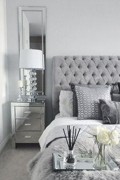Black White and Silver Bedroom Decor. 20 Black White and Silver Bedroom Decor. Grey Bedroom Design, White Bedroom Decor, Room Ideas Bedroom, White Home Decor, Gray Bedroom, Rooms Home Decor, Modern Grey Bedroom, White Grey Bedrooms, Bedroom Inspo Grey