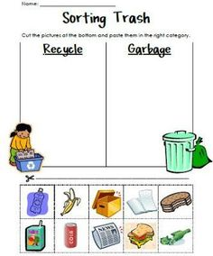 Earth Day Sorting Preschool Printable