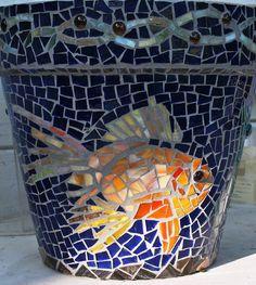 free mosiac patterns | Custom Mosaic Koi Fish Flower Pot by Mid Century Mosaics | CustomMade ...