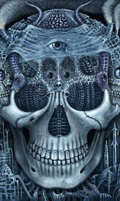 """""""Epitaph,"""" by R. * The eye in the center of the skull has a look of sadness as the smog in the air penetrates its brain. the grotesque of the modern world. The Crow, Crane, Badass Skulls, Skull Artwork, Metal Artwork, Skeleton Art, Surrealism Painting, Pop Surrealism, Skulls And Roses"""
