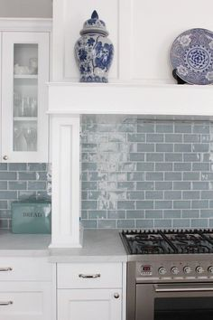 Laundry room idea Marble and white Kitchen , nickel pendant light, blue subway tiles, marble bench top, Melinda Hartwright Interiors Blue Kitchen Tiles, Kitchen Splashback Tiles, Blue Backsplash, New Kitchen, Kitchen White, Kitchen Ideas, Blue Grey Kitchens, Kitchen Mosaic, Blue Tiles