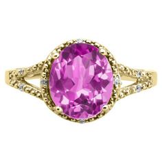 Simple Oval Cut Pink Sapphire Diamond White Gold Ring For Women Available Exclusively at Gemologica.com