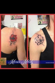 Tatouage coquelicot • recouvrement • Merries melody tattooshop
