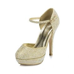Paillette Women's Wedding Stiletto Heel Mary Jane Pumps/Heels With Rhinestone Shoes(More Colors) - USD $ 49.99