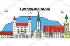 Slovakia, Bratislava outline city skyline, linear illustration, banner, travel landmark, buildings silhouette,vector Skyline Silhouette, Silhouette Vector, Bratislava, Building Silhouette, Travel Posters, Outline, Taj Mahal, Buildings, Banner