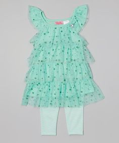 Mint Glitter Tiered Tunic & Leggings - Infant & Toddler