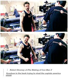 .gif Robert Downey Jr:The Making of Iron Man 2 - Note Coulson in the back trying to steal the captain america shield