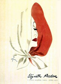 33 Best Fashion Illustrations and Advertisements from the past / Elizabeth Arden / ad / magazine / illustration / layout / sketch / girl / red and white