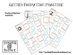 Printable | Letter Formation Practice | Lowercase | Teacher@Home