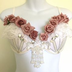 Rave bra white pearl romantic girly bra for by AfterglowRaveWear