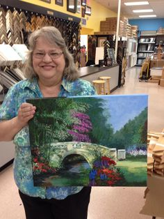 Linda paints the bridge at Jerrys in Houston Texas Acrylic art classes with Ginger Cook. Fridays and Saturdays 1pm-3:30