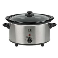 "Kalorik Slow Cooker in Stainless Steel now $25.95 was $45.00  Stainless steel slow cooker with a removable ceramic crock.Product: Slow cookerConstruction Material: Stainless steel, ceramic and glassColor: Stainless steel and blackFeatures: Removable crockPower indicator lightDimensions:3.7-Quart: 7.5"" H x 14"" W x 9.33"" D6-Quart: 8.5"" H x 17"" W x 11.5"" DCleaning and Care: Dishwasher safe"