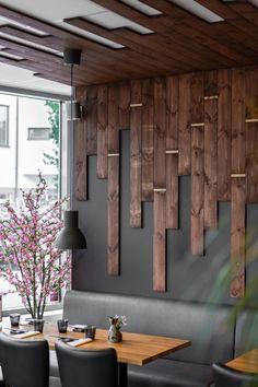 Wooden Wall Design, Wooden Wall Decor, Wooden Walls, Wooden Wall Tiles, Home Decor Wall Art, Home Room Design, Living Room Designs, House Design, Restaurant Interior Design