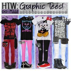 """""""HTW: Graphic Tees!"""" by tips-tips-tipss on Polyvore Scene Style, Emo Style, Style Me, Gothic Glam, Scene Outfits, Cute Emo, Cold Weather Outfits, Scene Hair, Pastel Goth"""