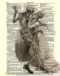 Dances with Death Dictionary Art Page, Gothic, Mixed Media, Art Print, Wall Decor on Etsy, $10.00