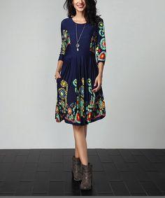 Another great find on #zulily! Navy Garden Fit & Flare Pocket Dress #zulilyfinds
