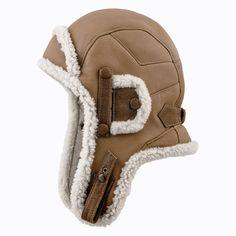 Gorro de Piloto / de Aviador al estilo de Chapka Ushanka de Zalea de oveja - capuchino con ribete blanco Trooper Hat, Aviator Hat, Caps Hats, Riding Helmets, Diy And Crafts, Handbags, Couture, Sewing, Fur Hats