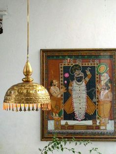 Indian Home Decor Hanging Lamps Indian Lamps, Indian Art, Ethnic Home Decor, Indian Home Decor, Pichwai Paintings, Pooja Room Design, Large Pendant Lighting, Mandala, Indian Interiors