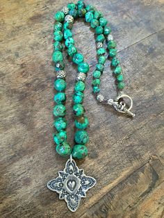 Turquoise Cross Knotted Necklace Country Boho by TwoSilverSisters