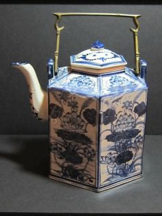 Large Asian Hexagonal Blue and White Teapot with Brass Handle