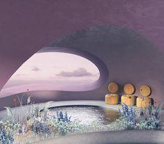 Purple Rain, a digitally designed space by Futuristic Interior, Retro Futuristic, Retro Interior Design, Mediterranean Decor, Environment Concept Art, Purple Rain, Beautiful Architecture, Aesthetic Pictures, Swimming Pools