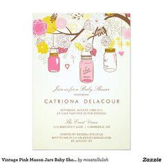 "Vintage Pink Mason Jars Baby Shower Invitation 5"" X 7"" Invitation Card"