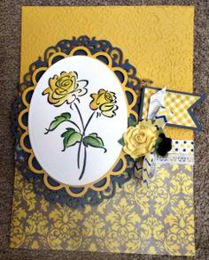 Yellow Rose - Scrapbook.com, inktense pencils, stampin up Scented Garden