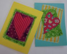 DIY Greeting Cards from cardstock and fabric scraps.